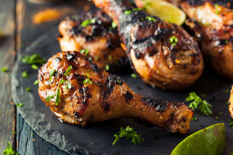 Marinated chicken with charred limes
